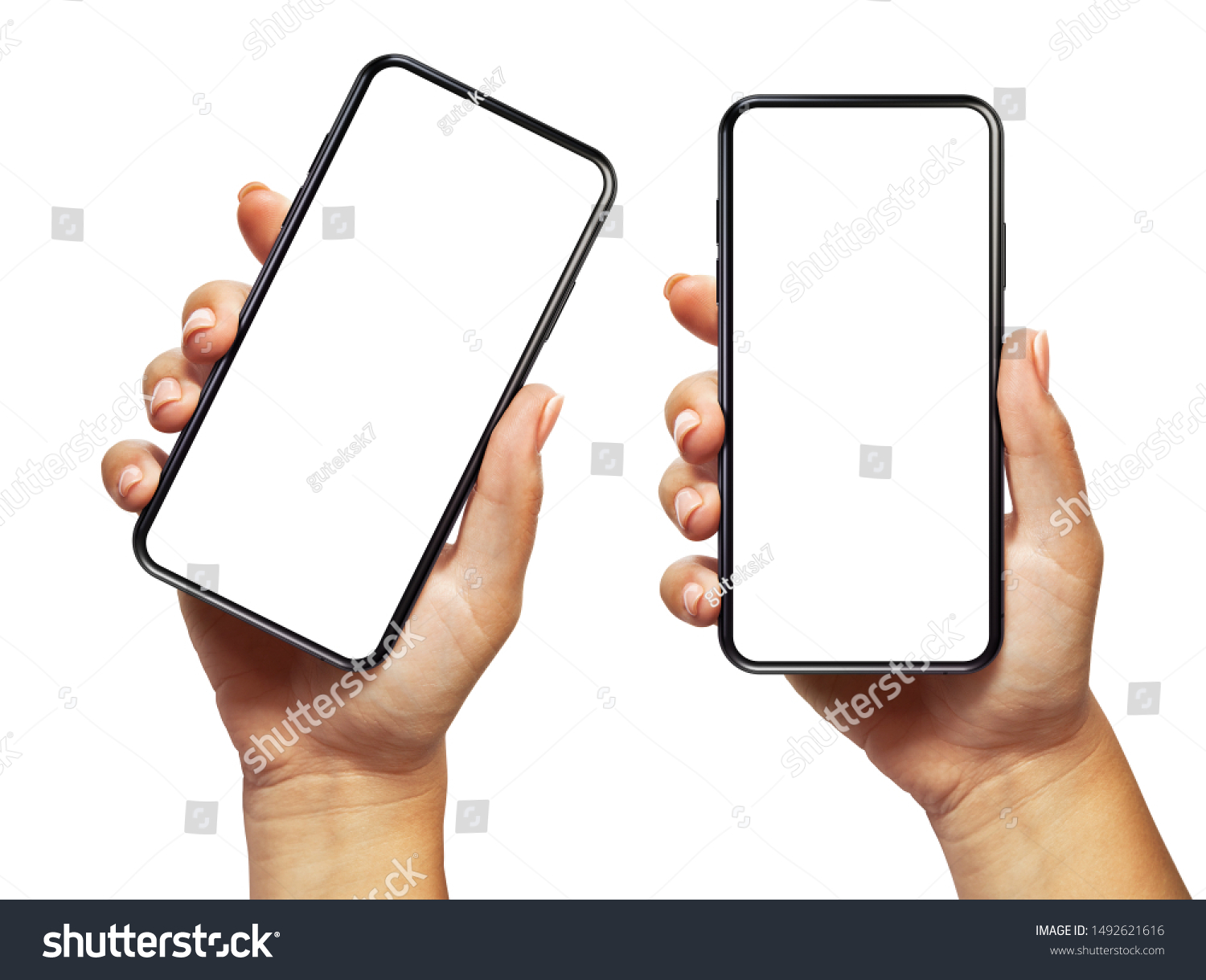 Woman hand holding the black smartphone with blank screen and modern frameless design two positions angled and vertical - isolated on white background #1492621616