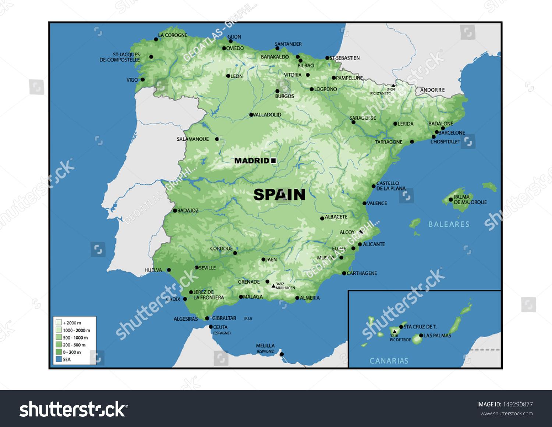 Physical Map Spain Stock Illustration Shutterstock - Barakaldo map