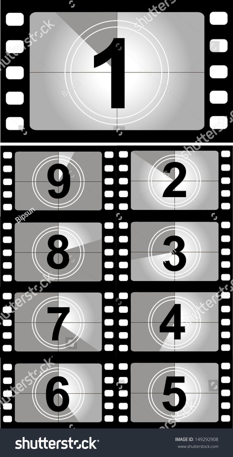 Film Countdown: Film Countdown Numbers Vector Illustration Stock Vector