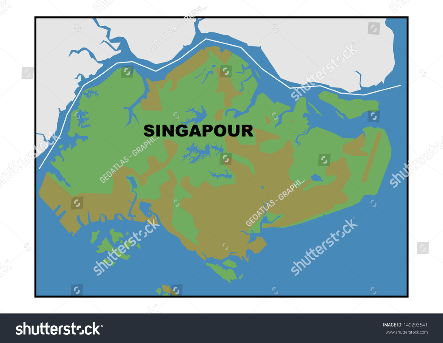 Physical Map Singapore Stock Illustration 149293541