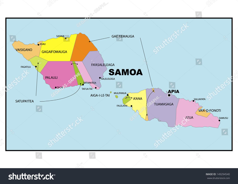 Administrative Map Samoa Stock Illustration 149294540 Shutterstock