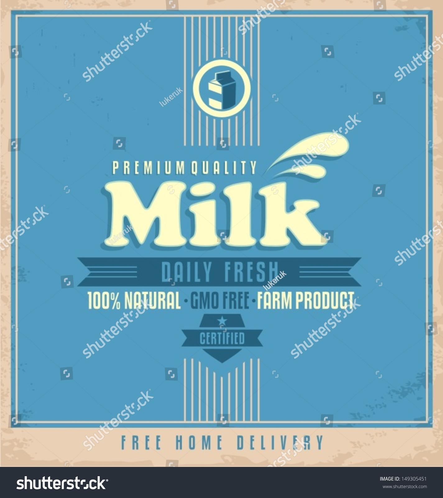 Design poster retro - Milk Retro Poster Design Food And Drink Label Concept