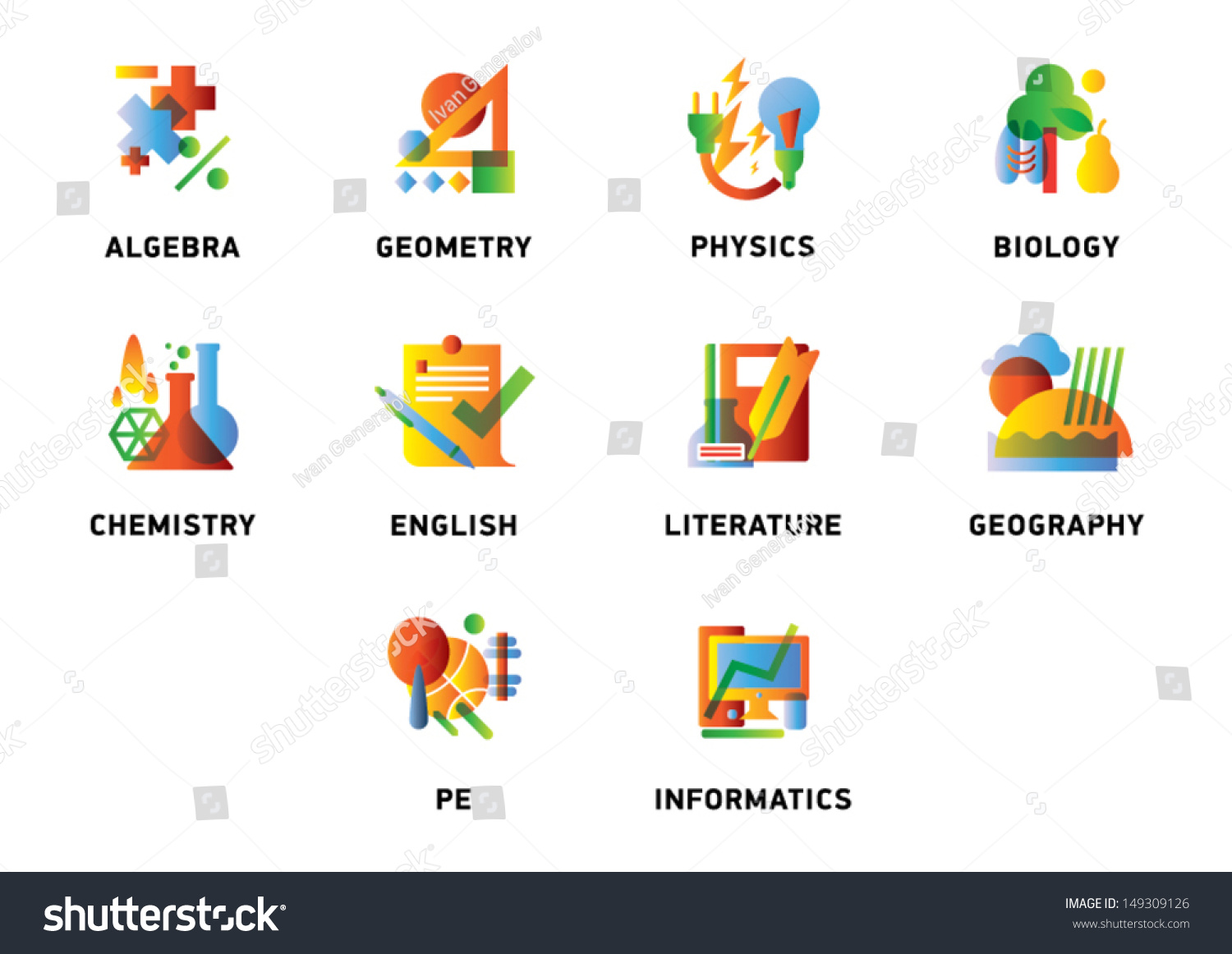 School Subjects Icons Stock Vector Icon Stock Vector 149309126 ...