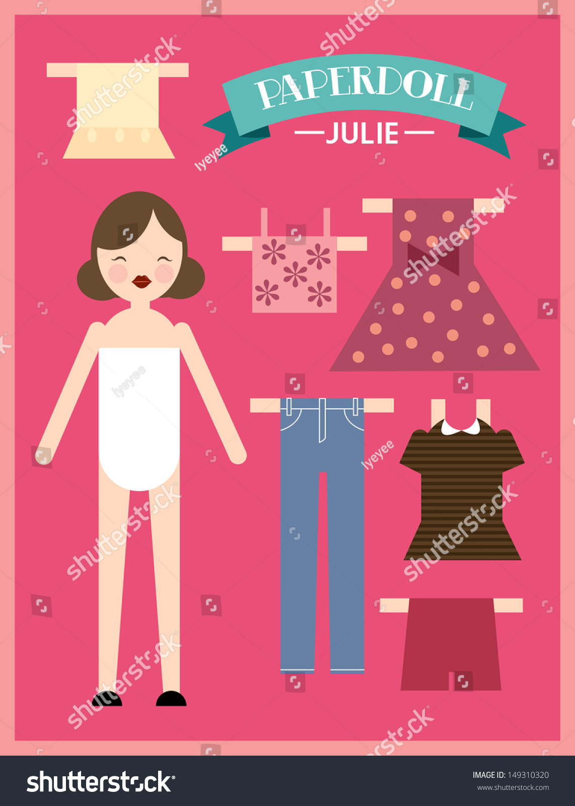 Paper doll woman template vector illustration 149310320 for Paper doll template woman