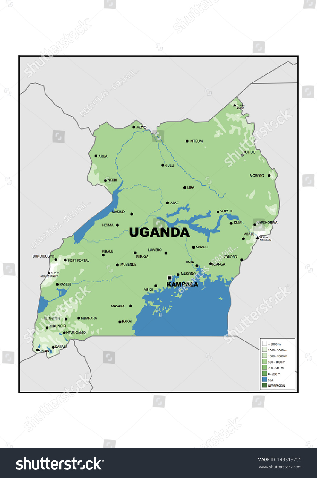 Physical Map Uganda Stock Illustration 149319755 Shutterstock