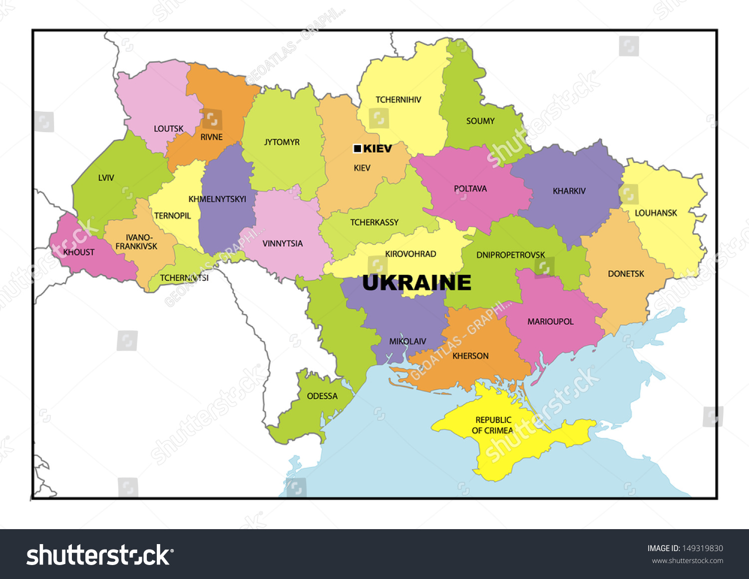 Administrative Map Ukraine Stock Illustration 149319830 Shutterstock
