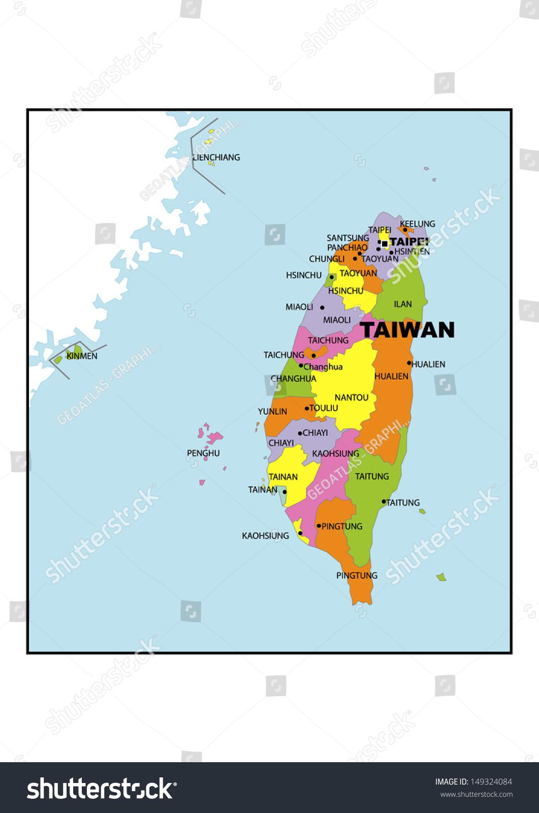 Administrative Map Taiwan Stock Illustration 149324084 Shutterstock