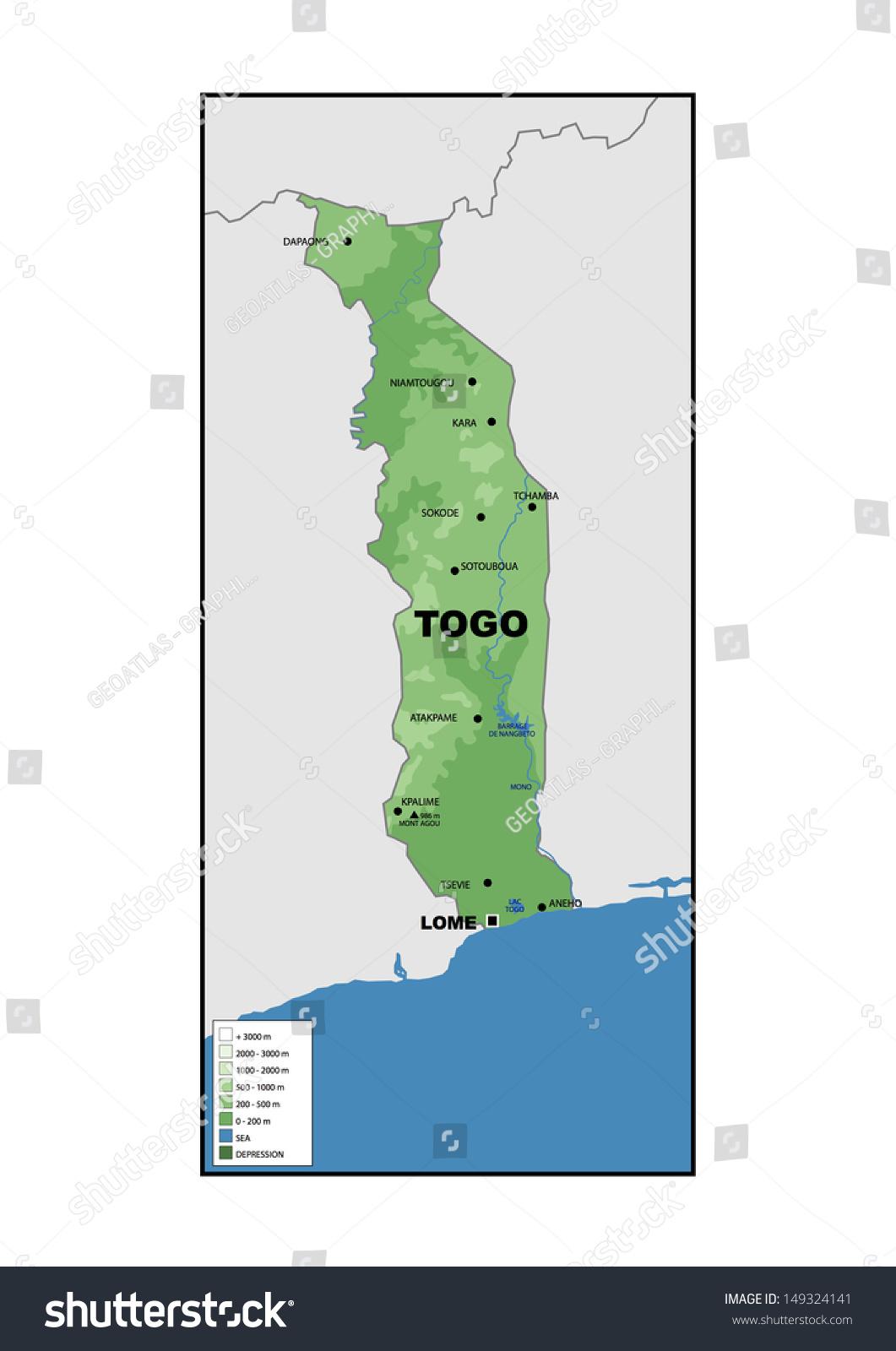 Physical Map Togo Stock Illustration 149324141 Shutterstock