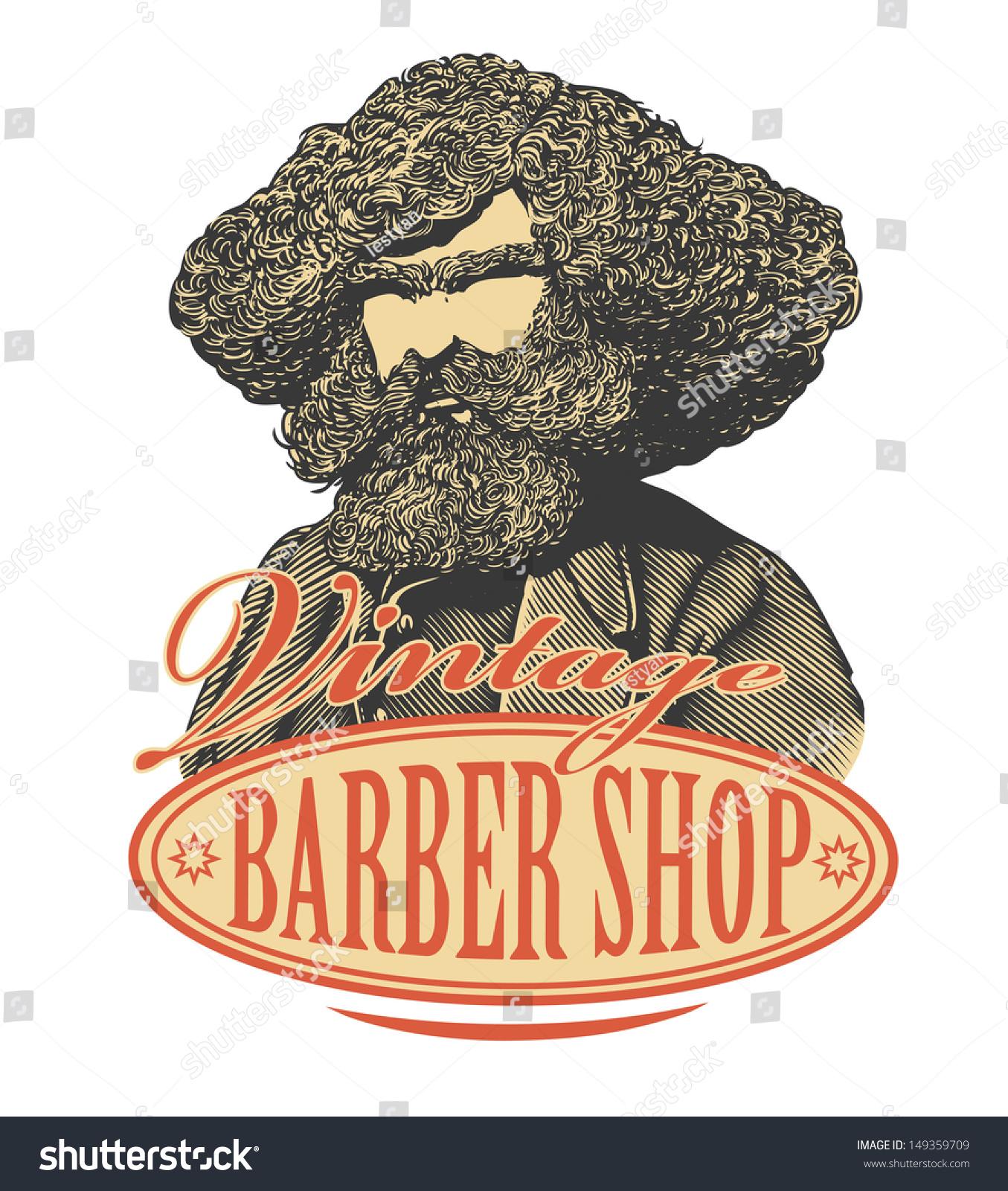 Antique barber shop signs - Vintage Barber Shop Sign Board With Bearded Man