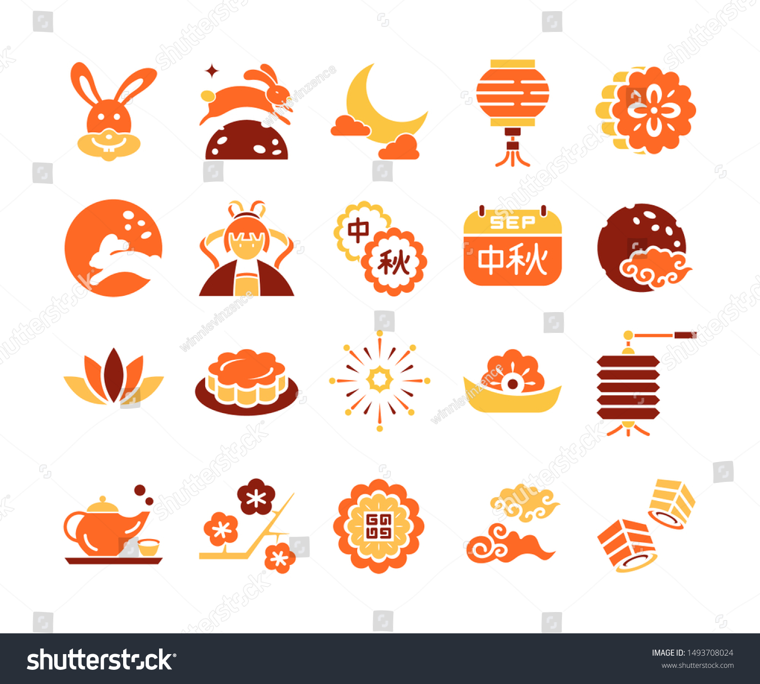Midautumn Festival Chinese Moon Festival Chinese Stock Vector Royalty Free 1493708024