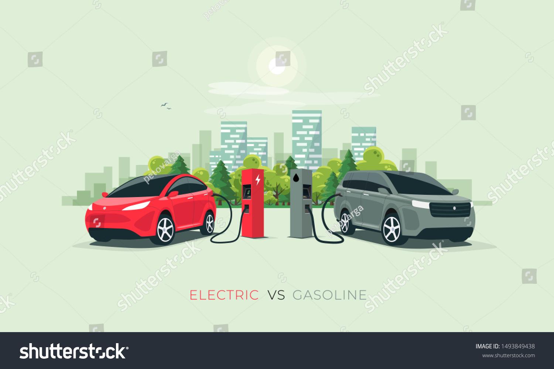 Comparing Electric Versus Gasoline Diesel Car Stock Vector Royalty Free 1493849438