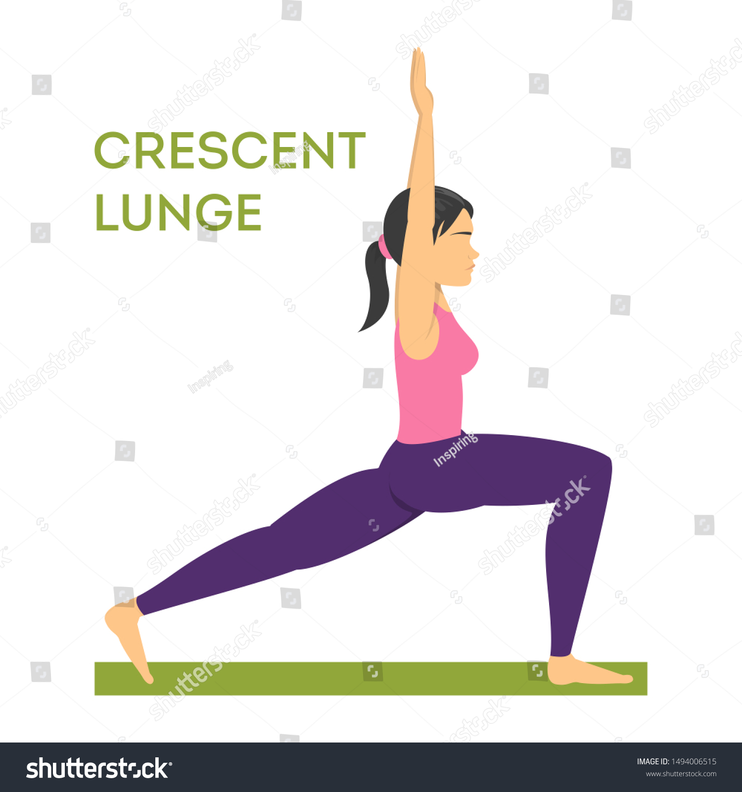 Woman Standing Crescent Lunge Yoga Pose Stock Vector (Royalty Free