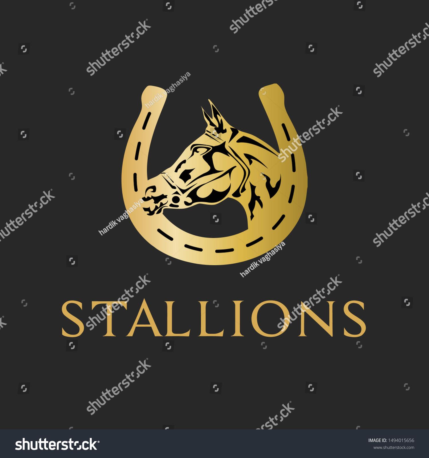 King Stallions Golden Horse Logo West Stock Vector Royalty Free 1494015656