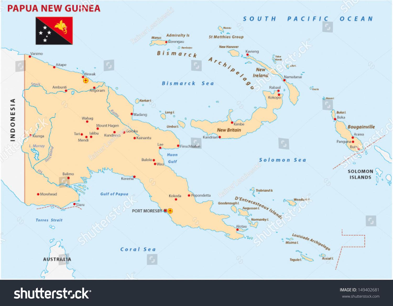 Papua New Guinea Map Stock Vector Shutterstock - Papua new guinea map