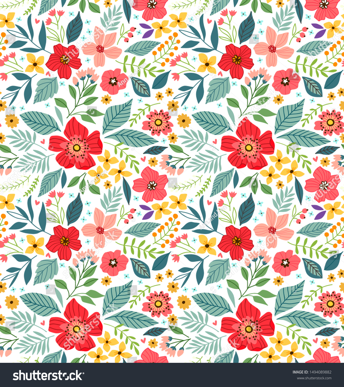 Vintage Floral Background Seamless Vector Pattern Stock Image