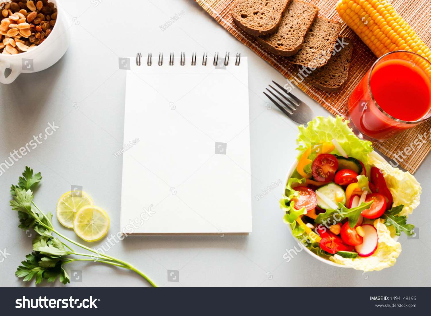 vegetables and notebook with place for text concept diet, diet food #1494148196