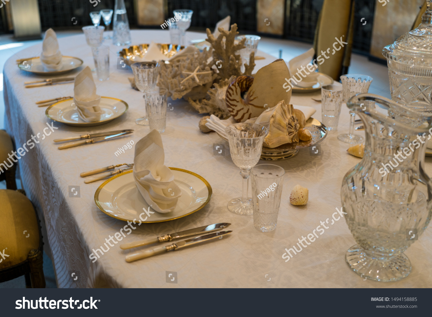 Luxurious Beautiful Western Style Dining Table Stock Photo Edit Now 1494158885