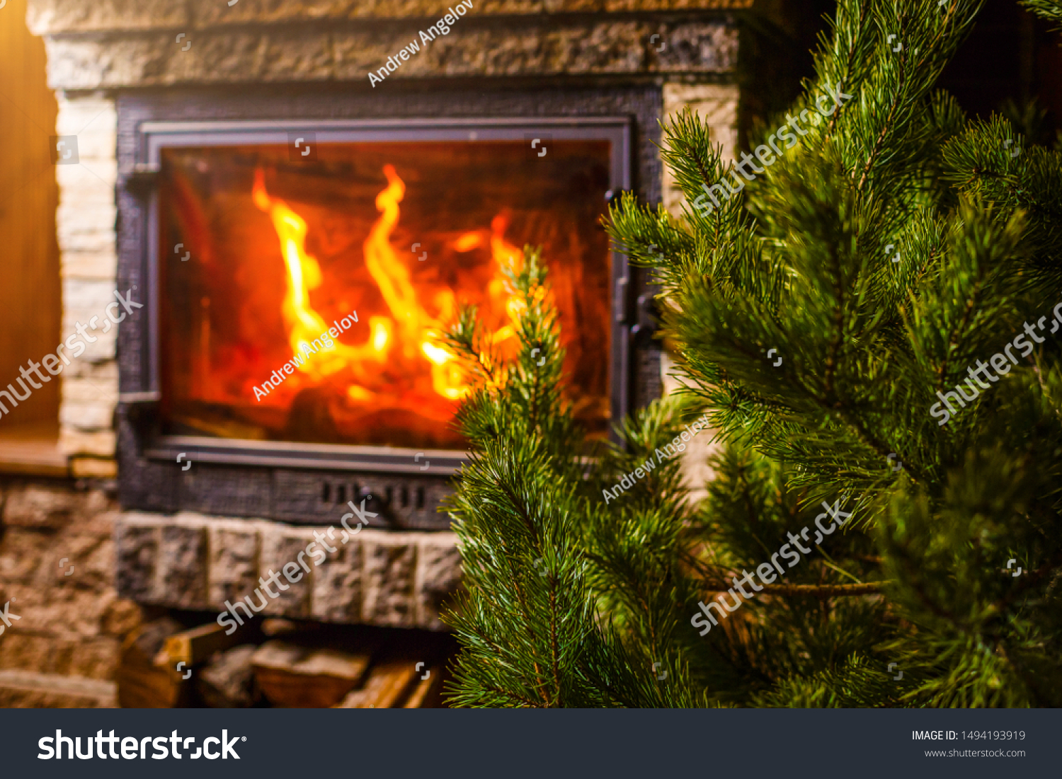 Christmas Tree Fireplace Background Stock Photo Edit Now 1494193919