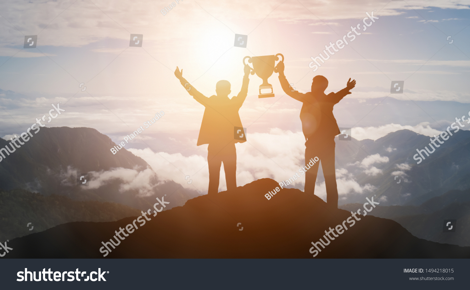 Achievement and Business Goal Success Concept - Creative business people with icon graphic interface showing employee reward giving for business success achievement. #1494218015