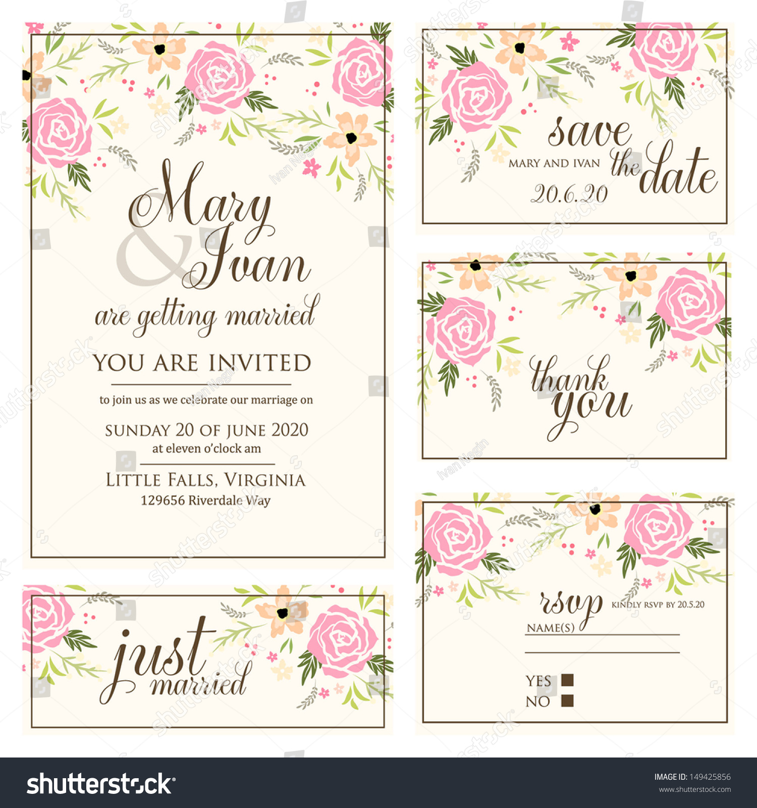 Wedding Invitation Thank You Card Save Vector 149425856 – Wedding Stationery Thank You Cards