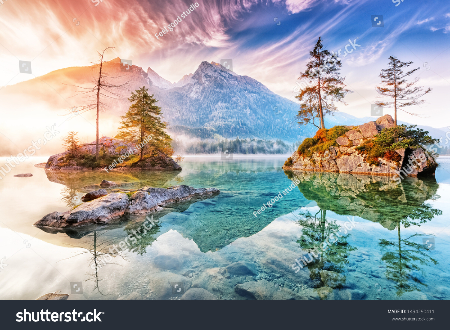 Lake Hintersee in Germany, Bavaria, National Park Ramsau in Alps. Beautiful autumnal Alpine landscape, amazing light during sunrise. Incredible seasonal autumn scenery. Famous landmark in Germany. #1494290411