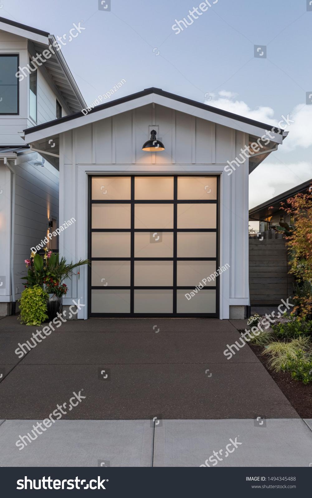 Garage Door Modern Farmhouse Style Home Stock Photo Edit Now 1494345488
