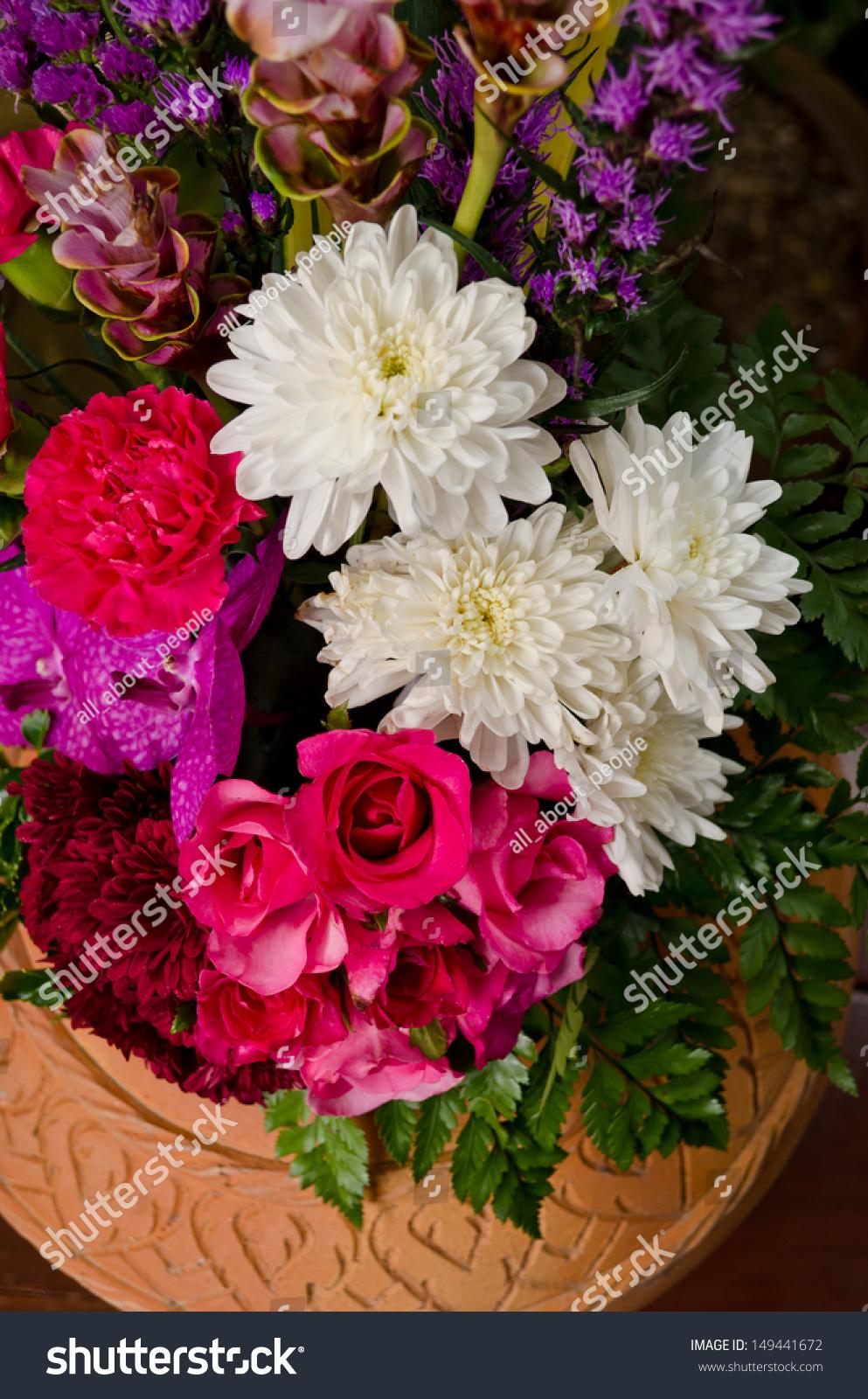 Colorful flower bouquet arrangement in pot. | EZ Canvas