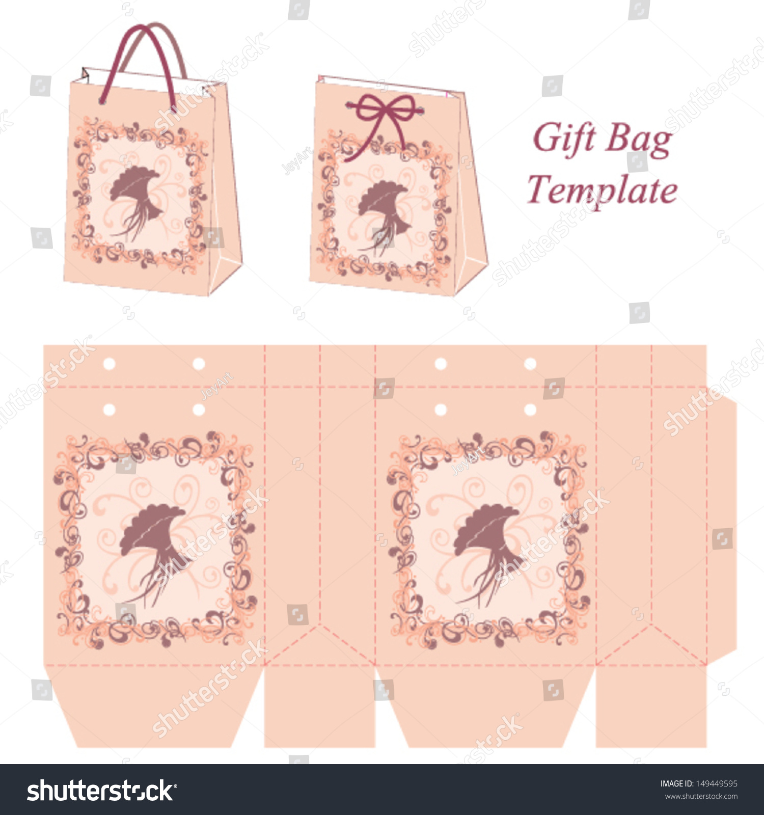 Pink Gift Bag Template Decorative Frame Stock Vector Royalty Free
