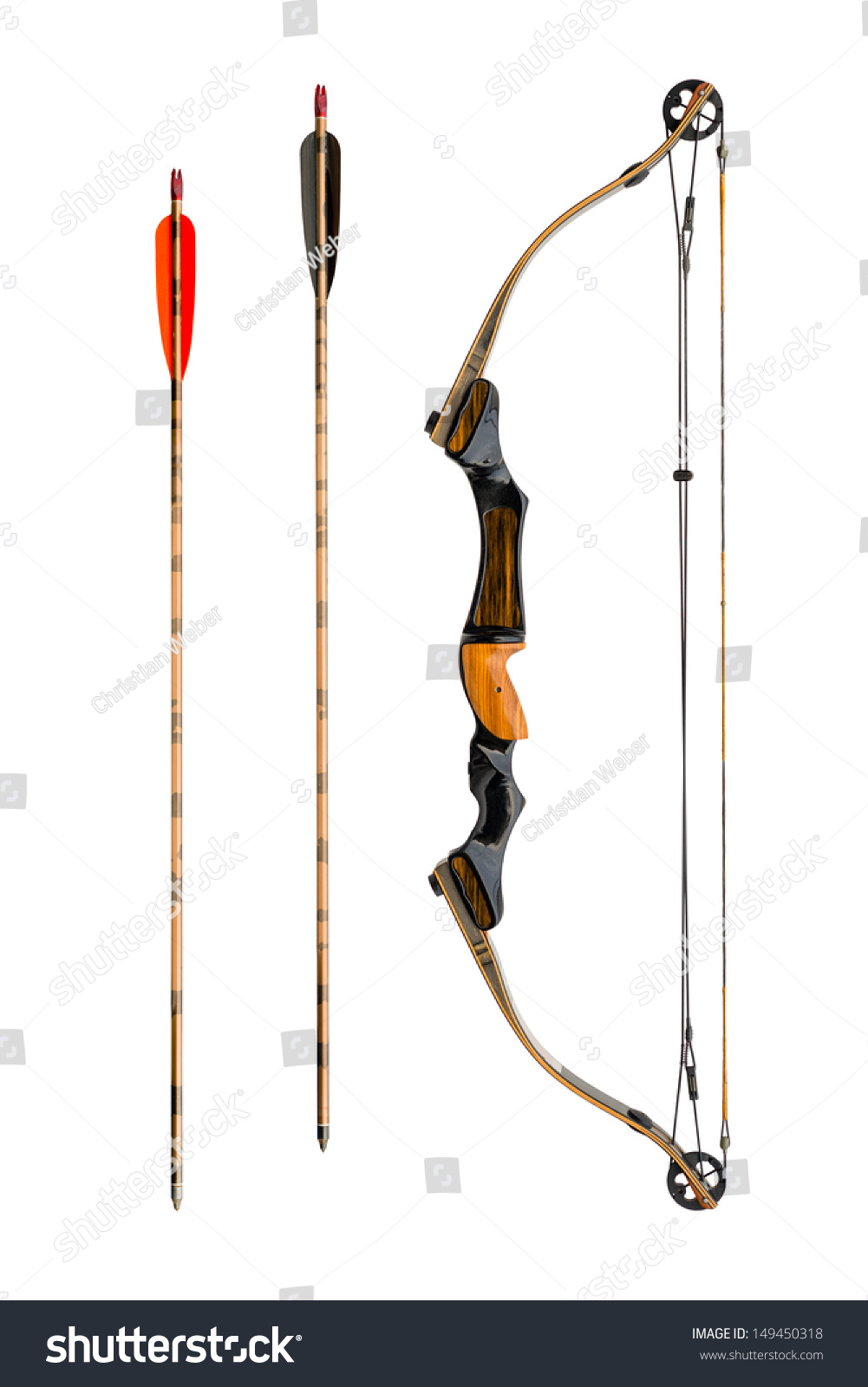Compound Bow Arrows Isolated On White Stock Photo (Royalty Free ...