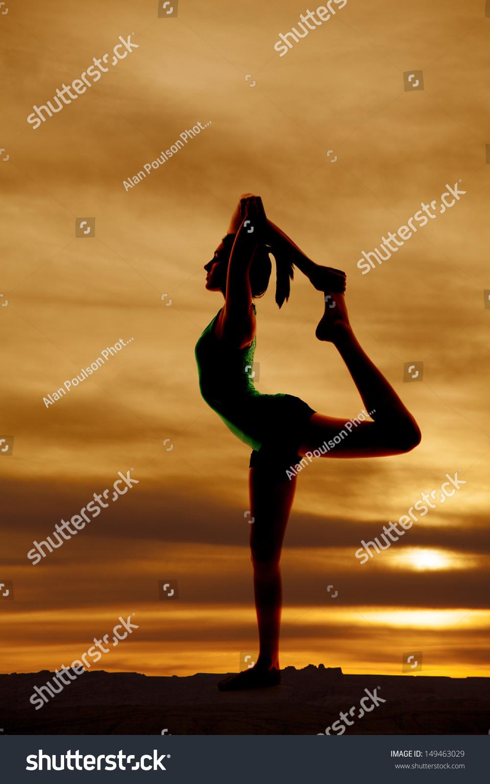 5165b405ac41a Woman Doing Scorpion Pose Silhouette Stock Photo (Edit Now ...