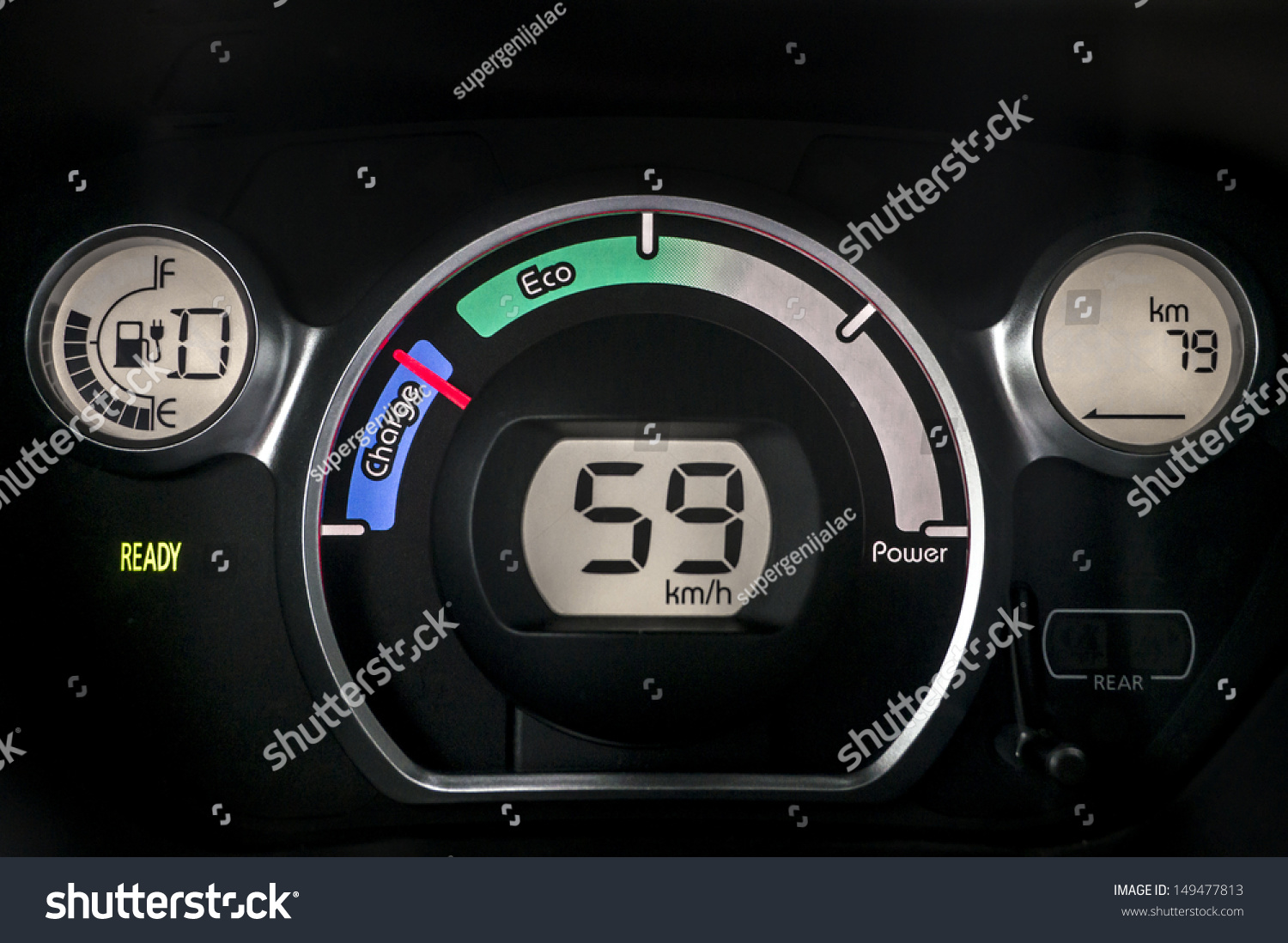 Auto Electric Instrument : Electric car instrument cluster stock photo
