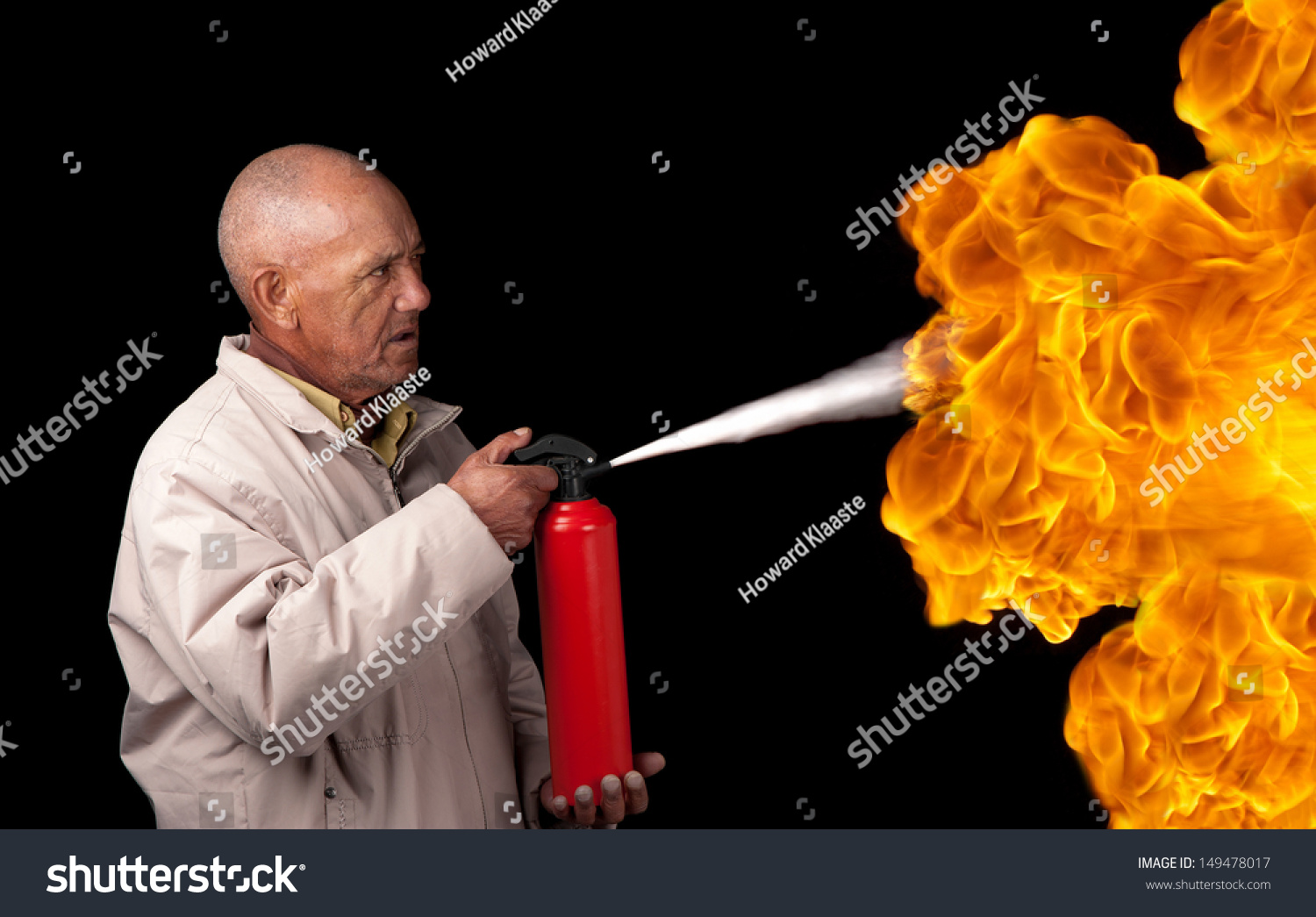 Old Man Attempts Extinguish Flames Giant Stock Photo ...