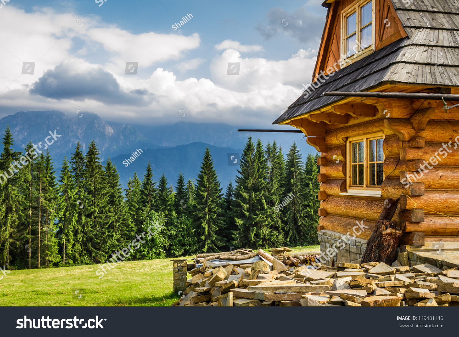 Rural cottage in the mountains stock photo 149481146 for Cottage in the mountains