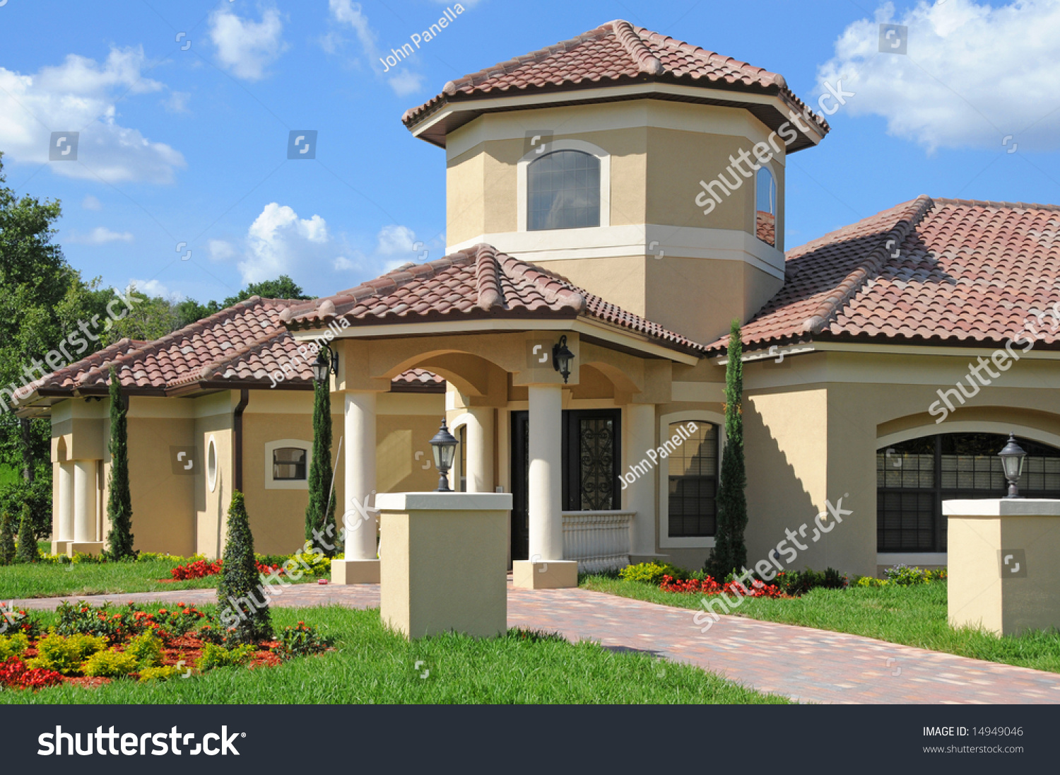 model home entrance with a beautiful blue sky stock photo 14949046 shutterstock. Black Bedroom Furniture Sets. Home Design Ideas