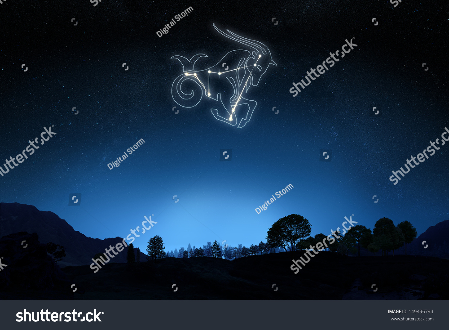 Zodiac Capricorn Star Symbol Outline On Stock Illustration 149496794