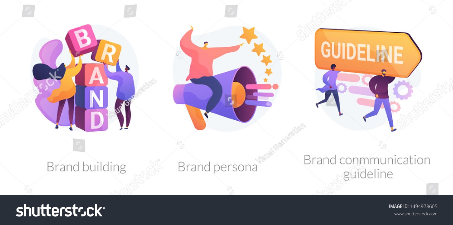 Corporate identity, company personality development. Reputation management. Brand building, brand persona, brand communication guideline metaphors. Vector isolated concept metaphor illustrations #1494978605