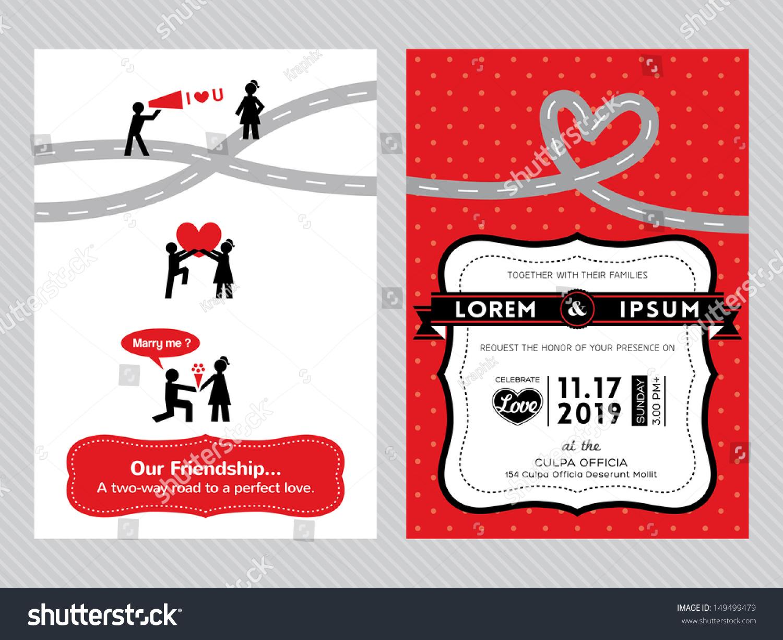 Wedding Invitation Card Template Cute Groom Stock Photo (Photo ...