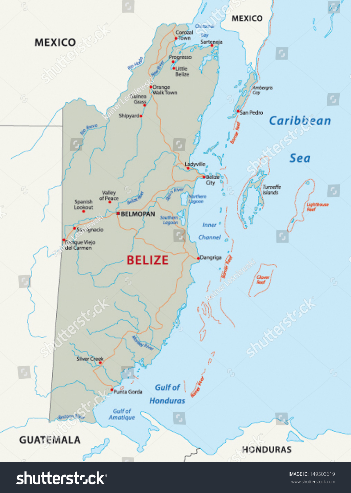 Belize road map stock vector 149503619 shutterstock belize road map gumiabroncs Image collections