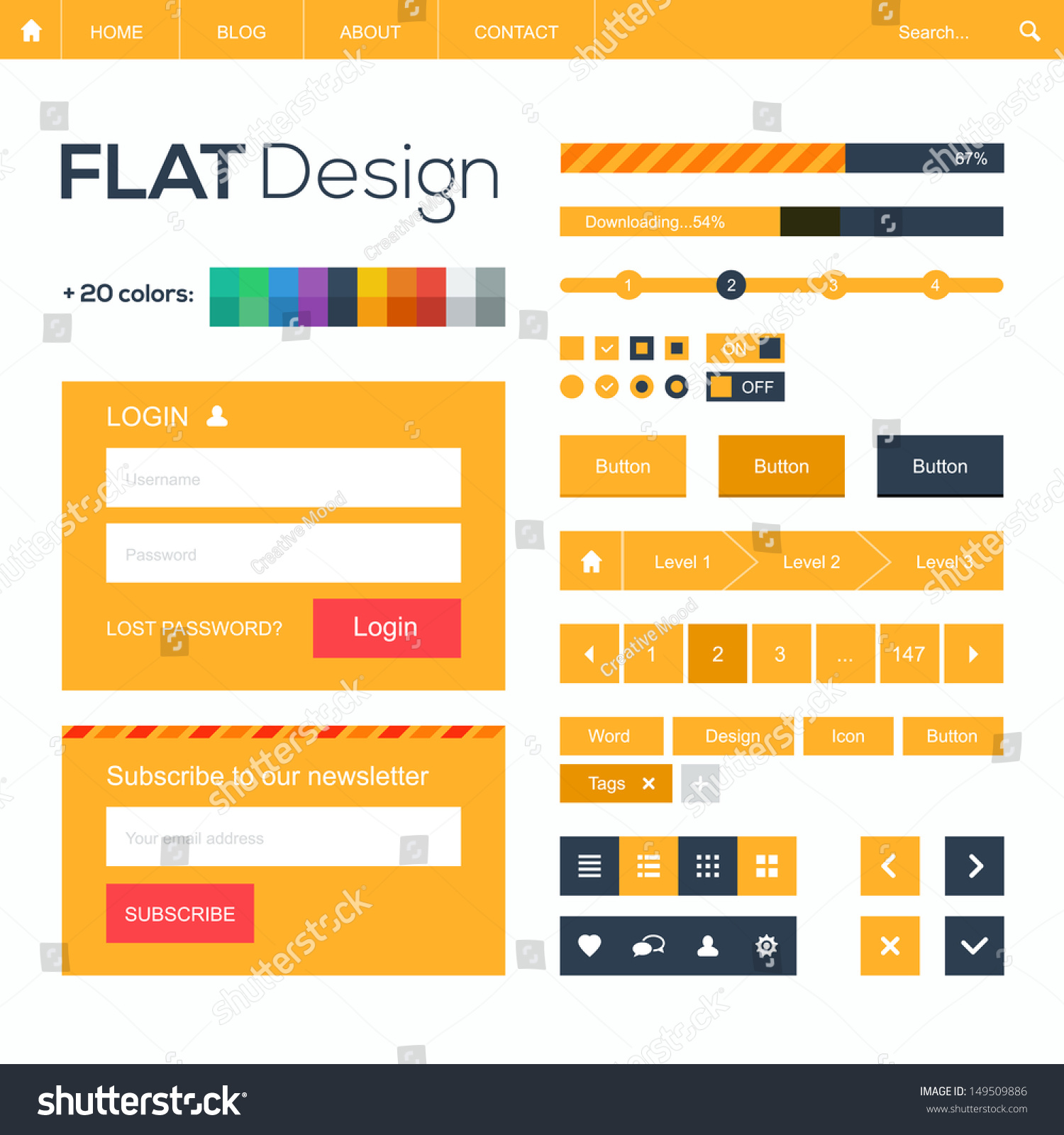 Flat Web Mobile Design Elements Buttons Stock Vector