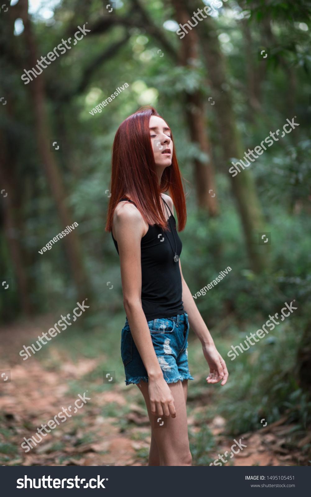 Skinny Redhead Girl Brazilian Forest Stock Photo Edit Now 1495105451