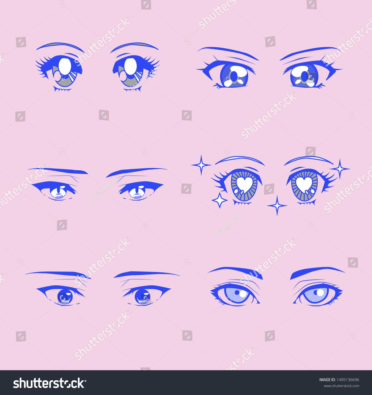 Set Cartoon Anime Eyes Male Female Stock Vector Royalty Free 1495136696