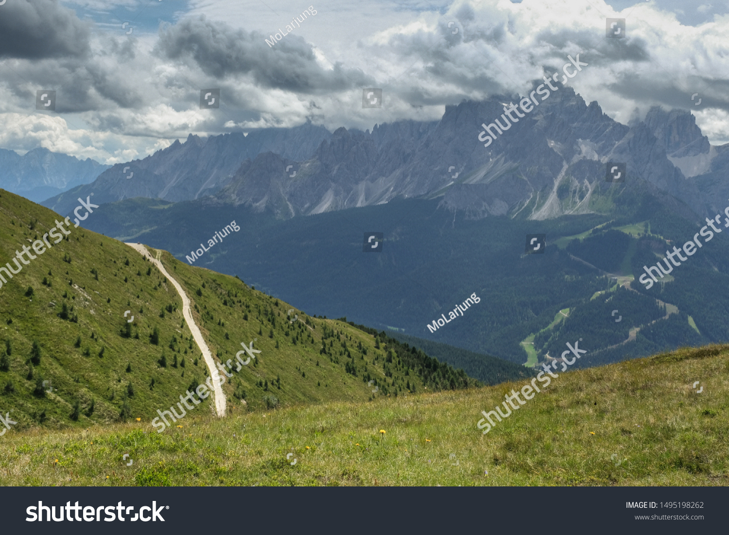 On ascent to Monte Elmo summit on Carnic Peace Trail along the Carnic Alps along the Italian & Austrian border with great views of the Sesto Dolomites massif in the south, South Tyrol, Italy/Austria