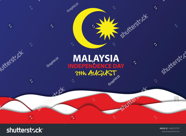 Illustration Malaysia Independence Day Hari Kemerdekaan Stock Vector Royalty Free 1495273757