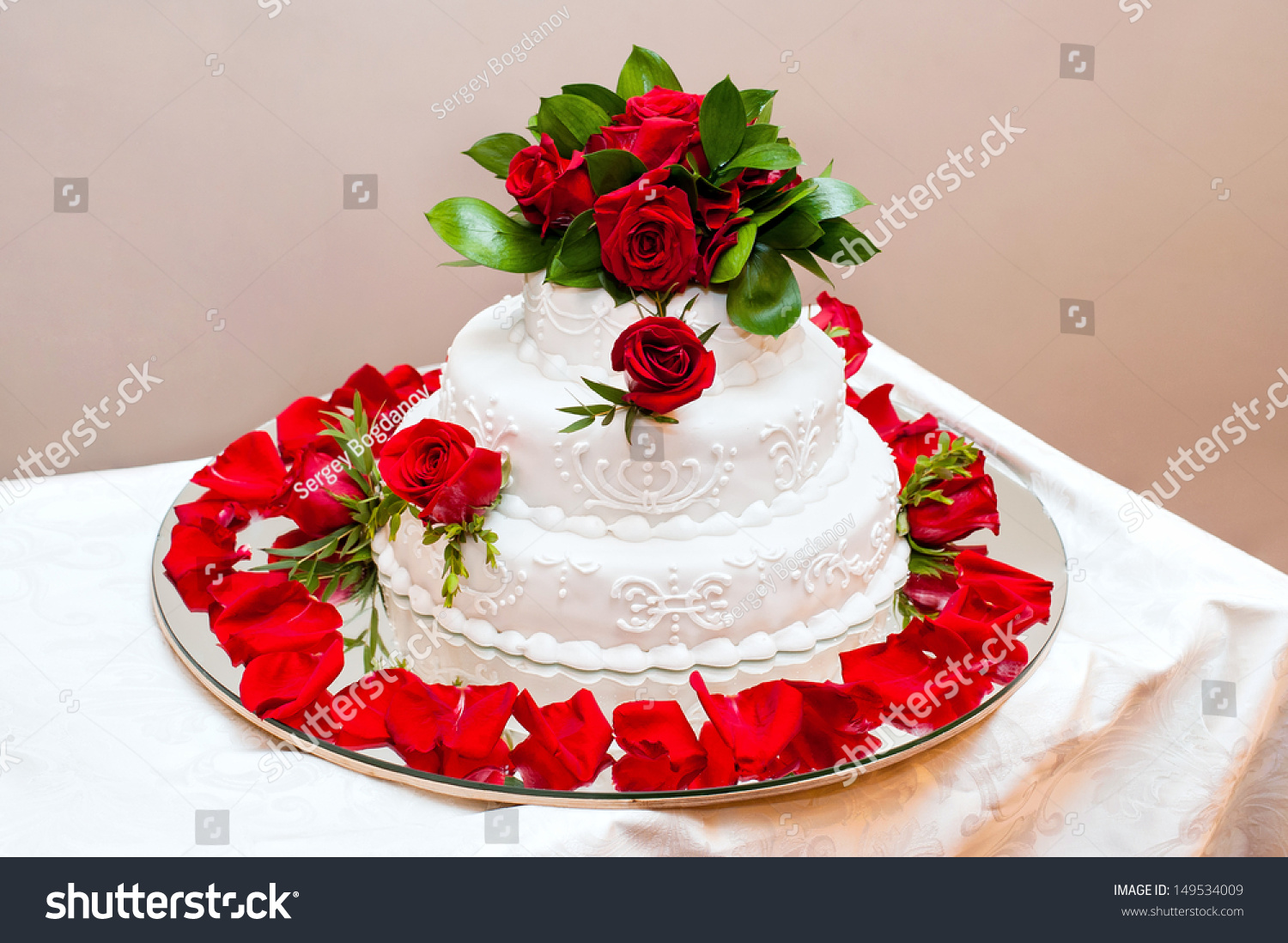 Wedding Cake Decorated Live Red Roses Stock Photo Edit Now