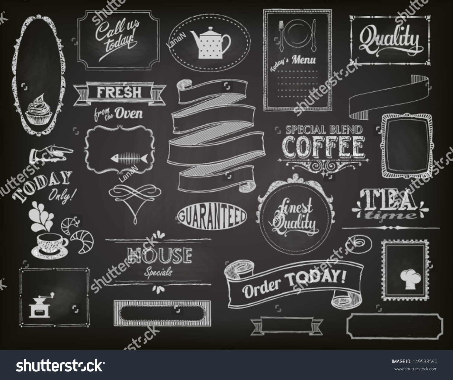 Chalkboard Ads Including Frames Banners Swirls Stock Vector ...