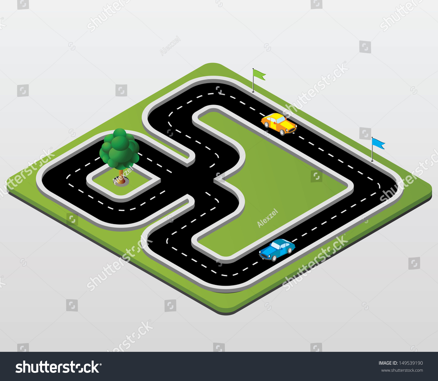 Track Racing Cars Trees Stock Vector 149539190 - Shutterstock