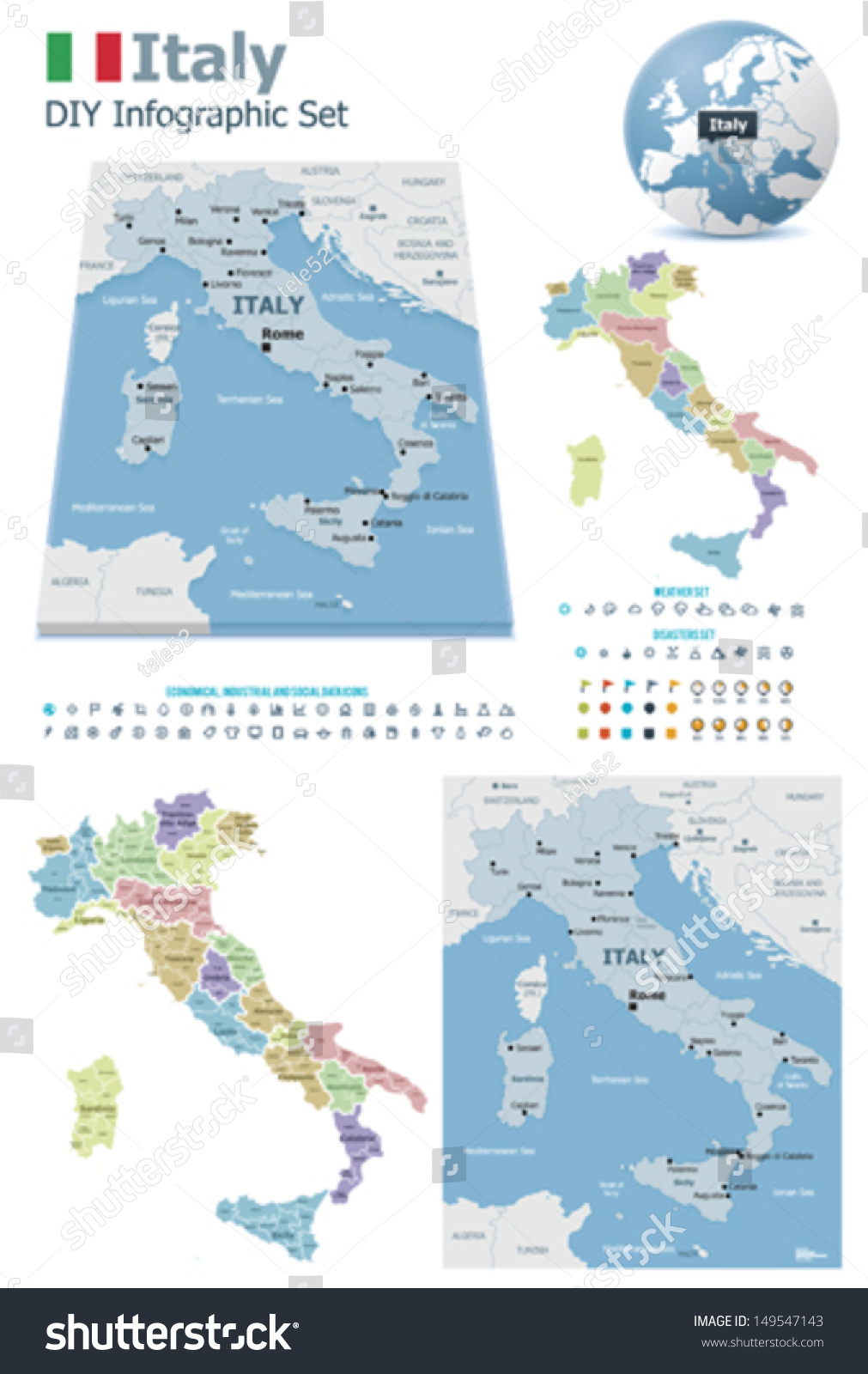 Vector Italy Political Administrative Divisions Maps Stock Vector