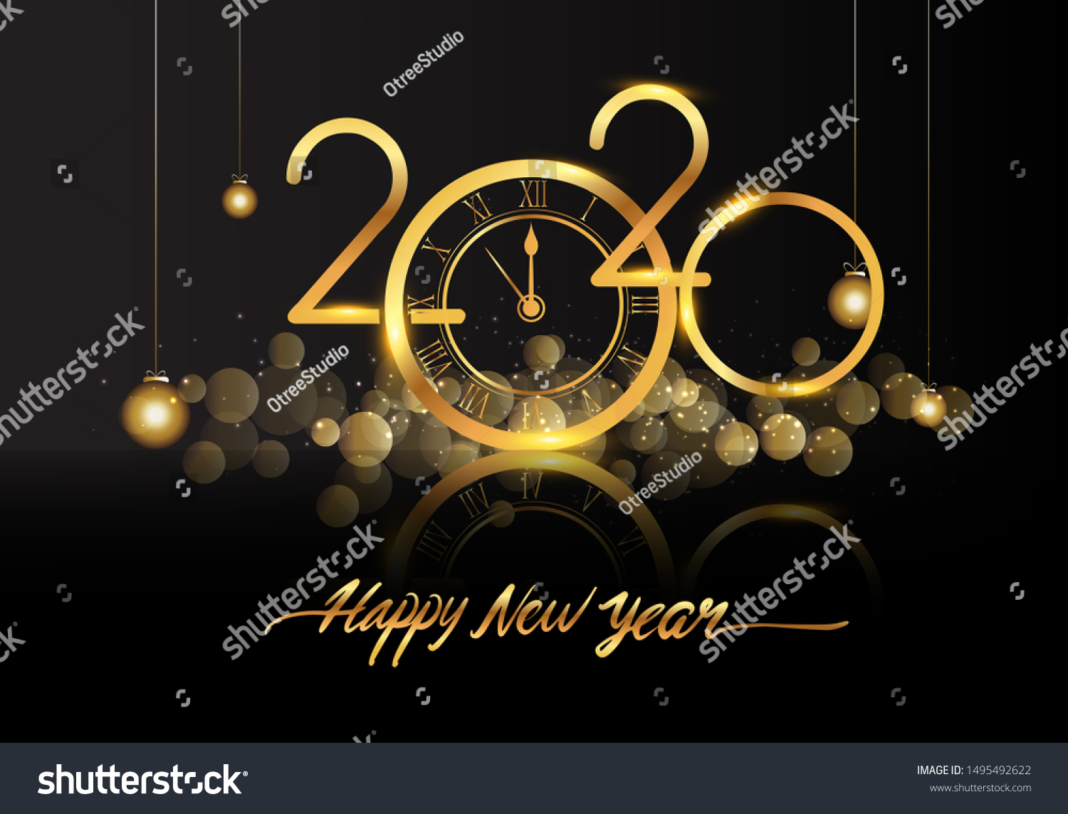 Happy New Year 2020 - New Year Shining background with gold clock and glitter.