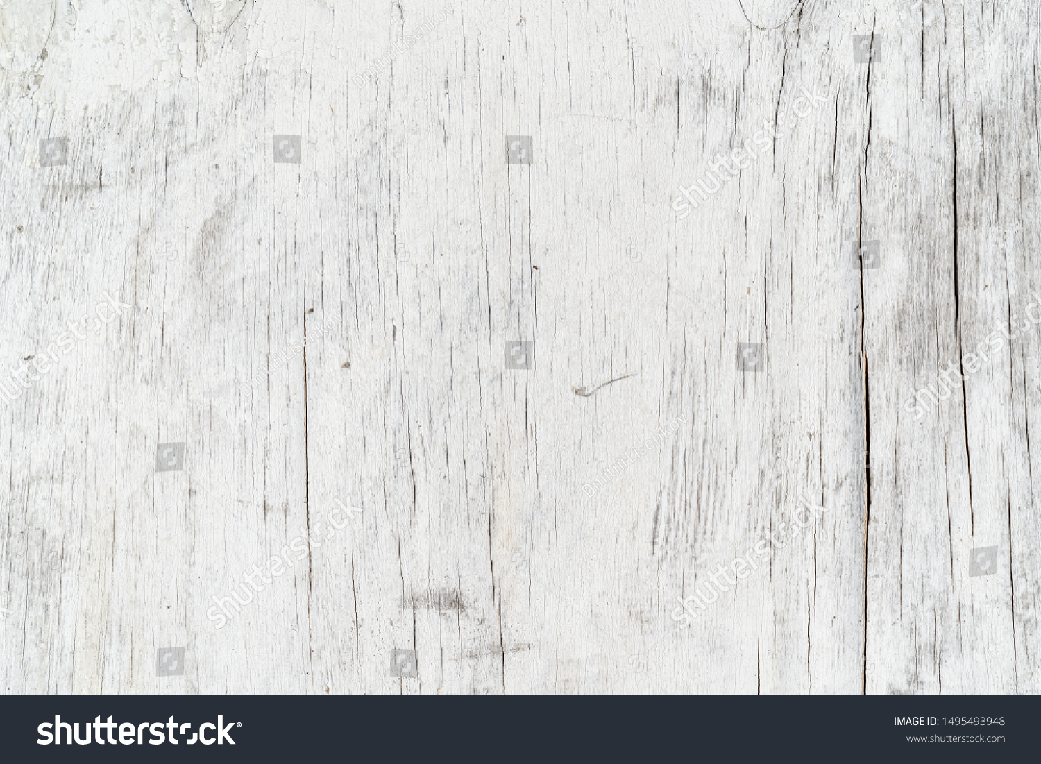 Wooden texture background. Old wood texture with white peeling paint. Different vertical lines. Background for text or design #1495493948