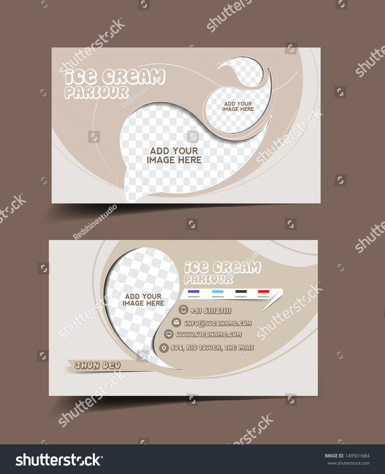 Vector ice cream store business card stock vector hd royalty free vector ice cream store business card set colourmoves